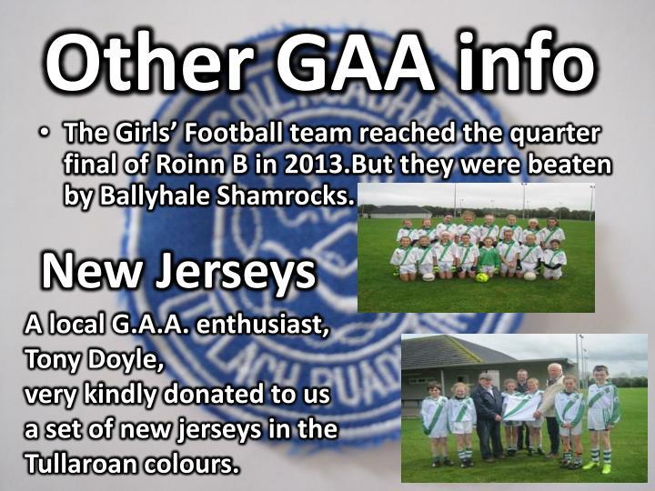 Other GAA info