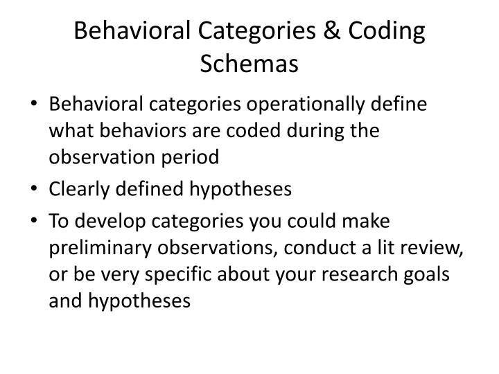 Behavioral Categories & Coding Schemas