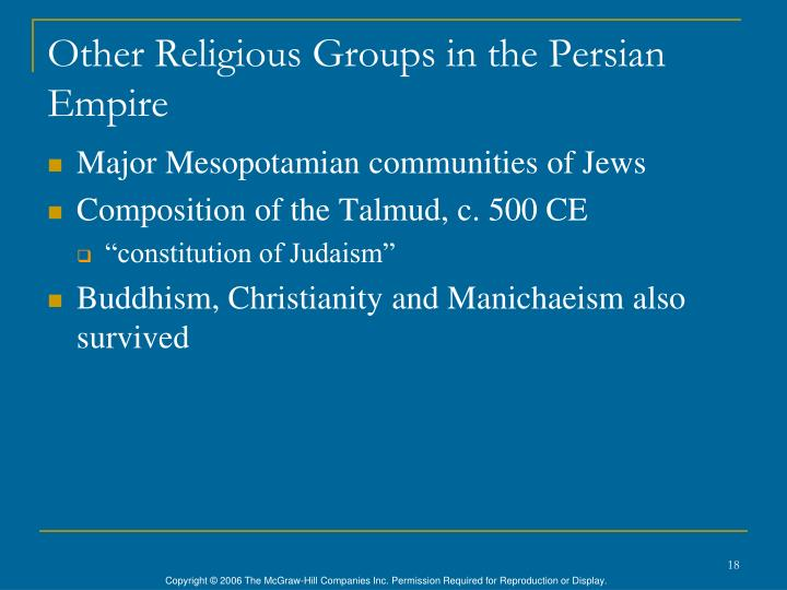 Other Religious Groups in the Persian Empire