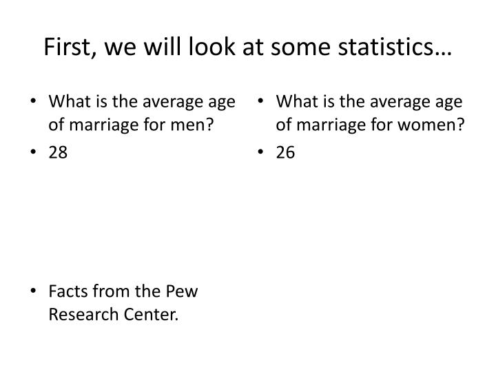 First, we will look at some statistics…