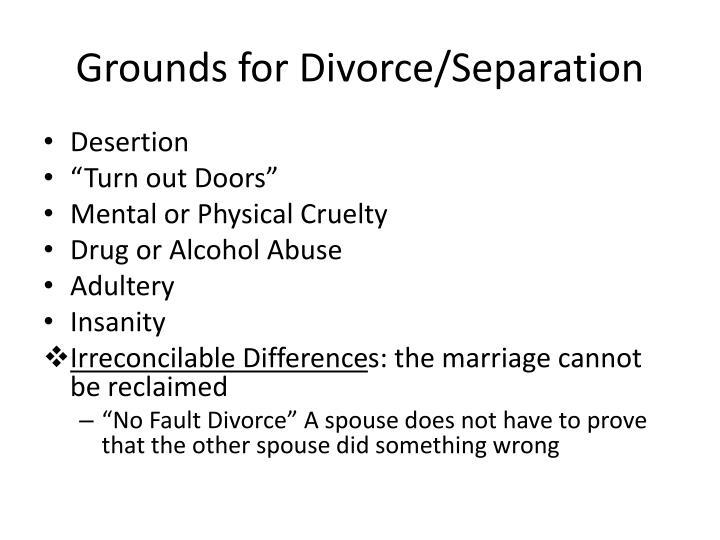 Grounds for Divorce/Separation