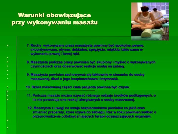 Warunki obowiązujące przy wykonywaniu masażu