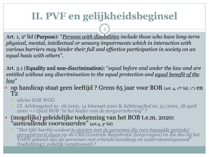 II. PVF en gelijkheidsbeginsel