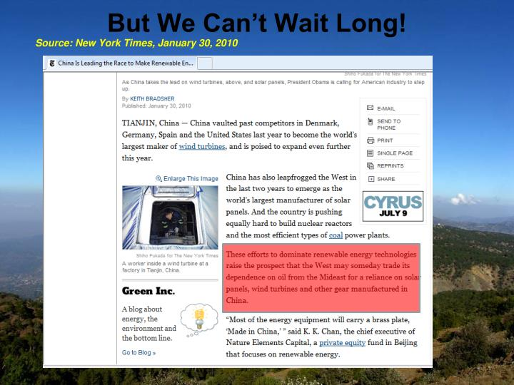 But We Can't Wait Long!