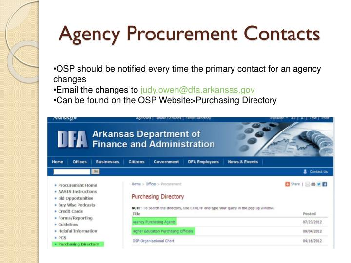 Agency procurement contacts