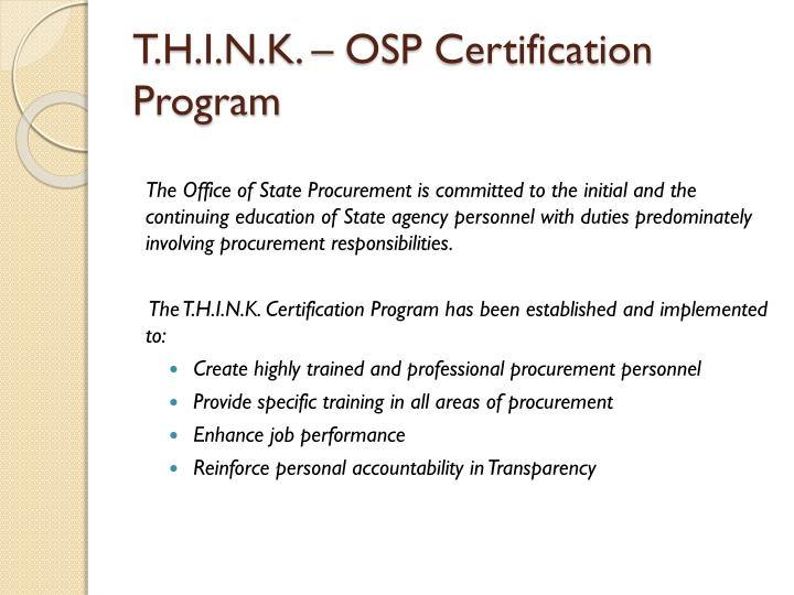 T.H.I.N.K. – OSP Certification Program