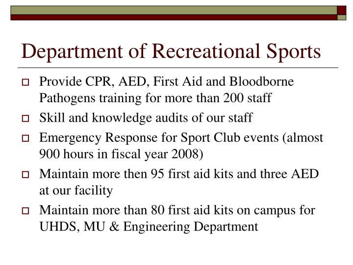 Department of recreational sports