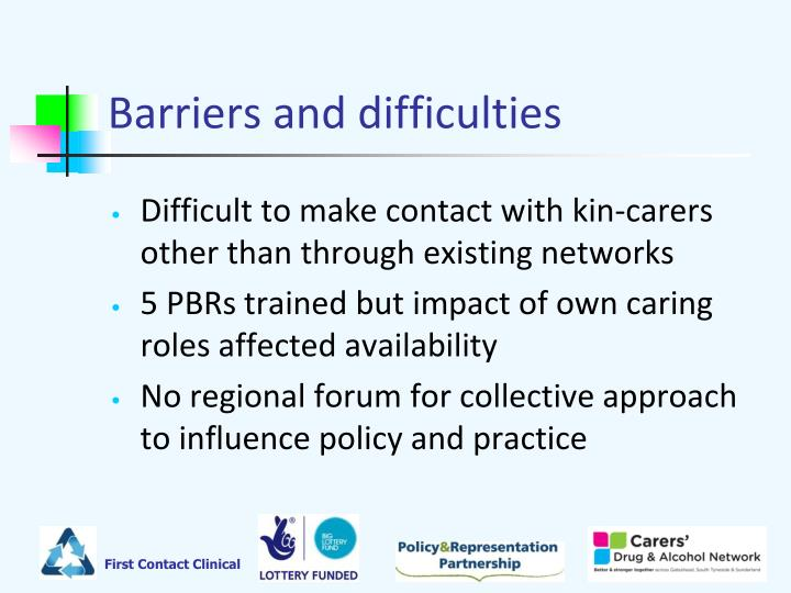 Barriers and difficulties
