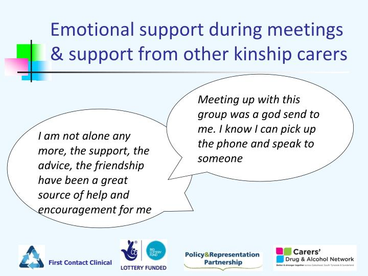 Emotional support during meetings & support from other kinship carers