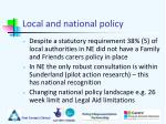 local and national policy