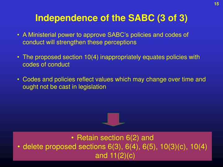 Independence of the SABC (3 of 3)