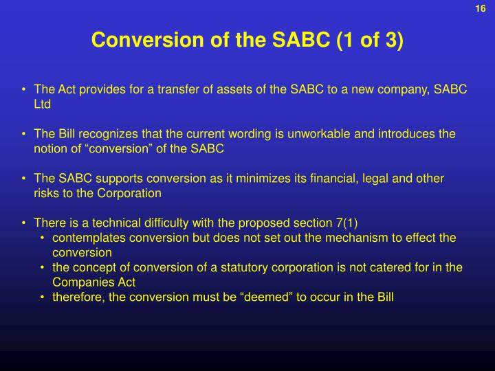 Conversion of the SABC (1 of 3)