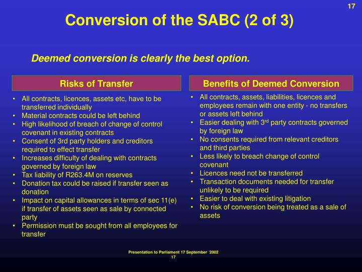 Conversion of the SABC (2 of 3)