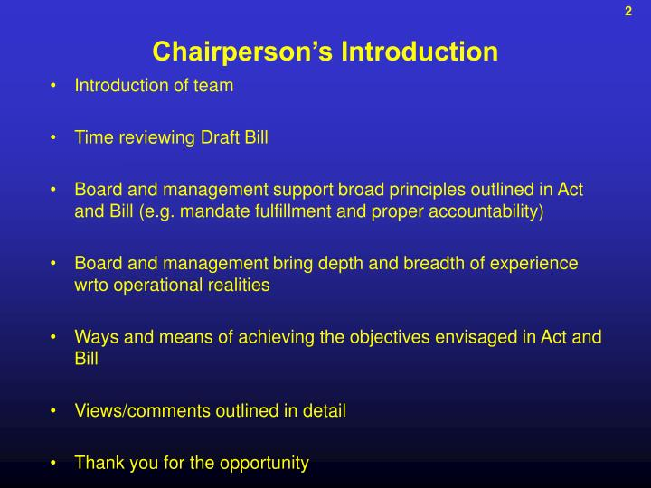 Chairperson's Introduction
