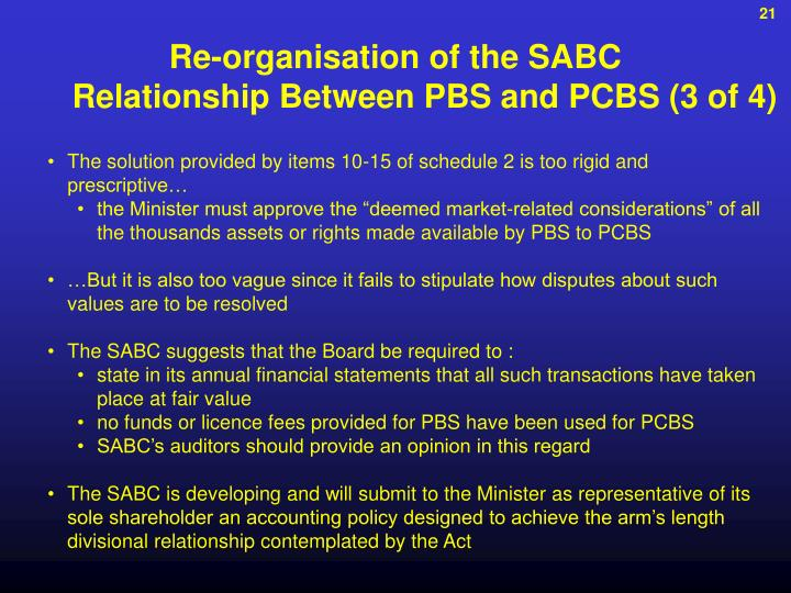 Re-organisation of the SABC