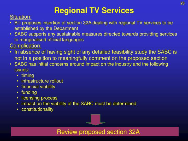 Regional TV Services