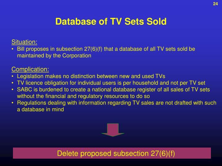Database of TV Sets Sold