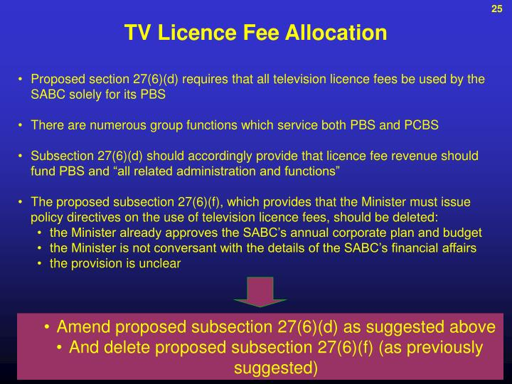 TV Licence Fee Allocation