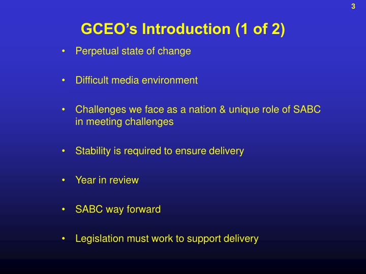 GCEO's Introduction (1 of 2)