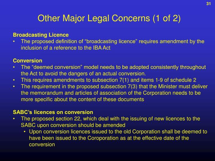 Other Major Legal Concerns (1 of 2)