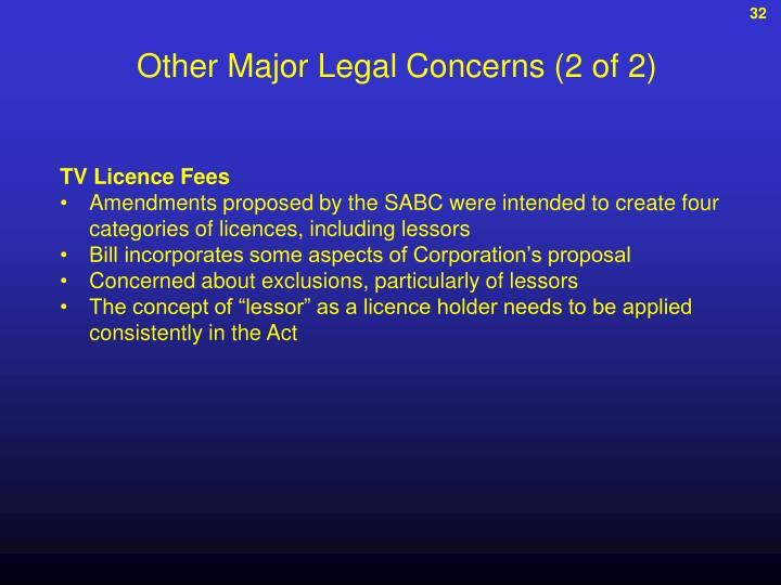 Other Major Legal Concerns (2 of 2)