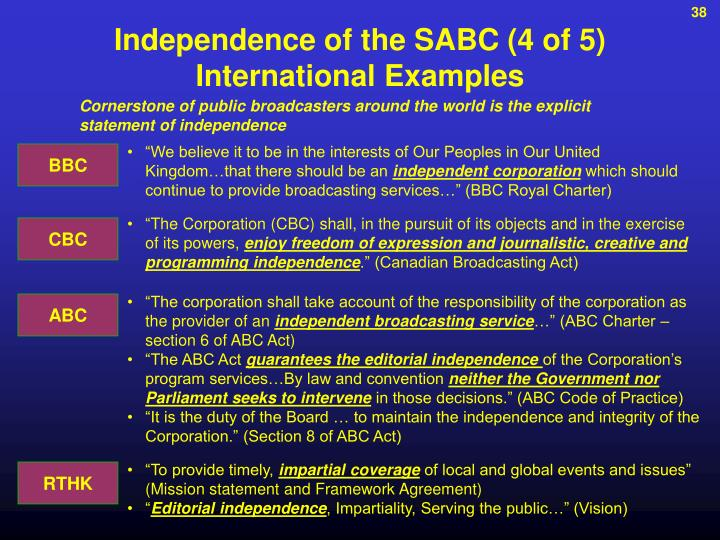 Independence of the SABC (4 of 5)