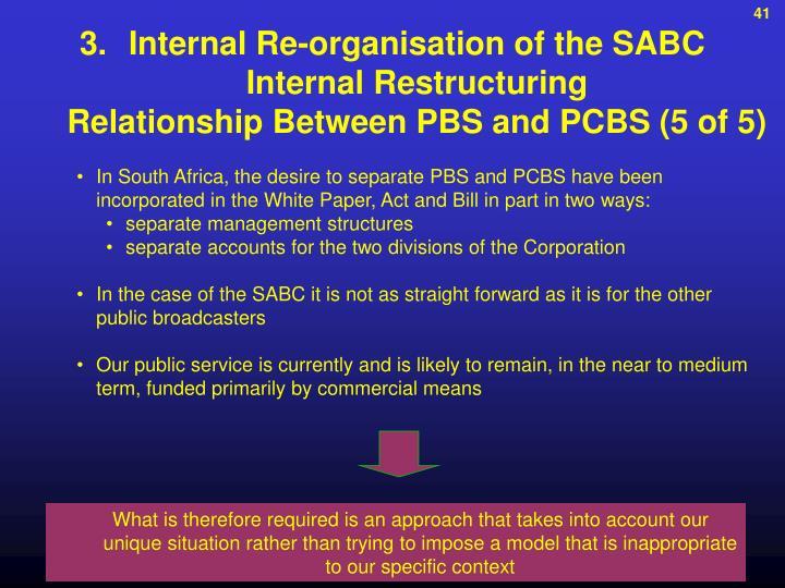 Internal Re-organisation of the SABC