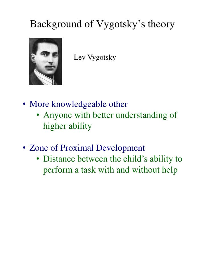 vygotsky's notion of scaffolding in relation Ivygotsky, of theory in scaffolding, writing center and the work role  for a  full discussion of vygotsky's relationship to social construction, see stuart.