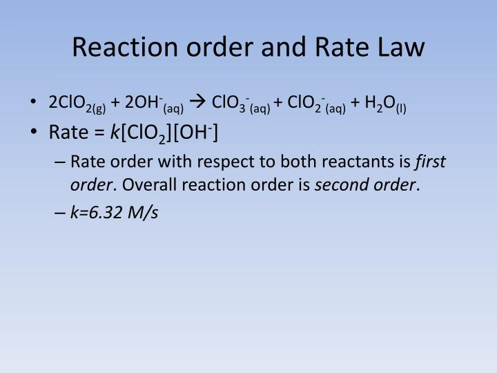 Reaction order and Rate Law