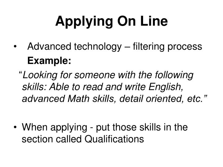 Applying On Line