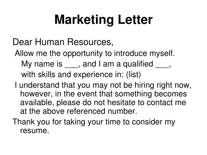Marketing Letter