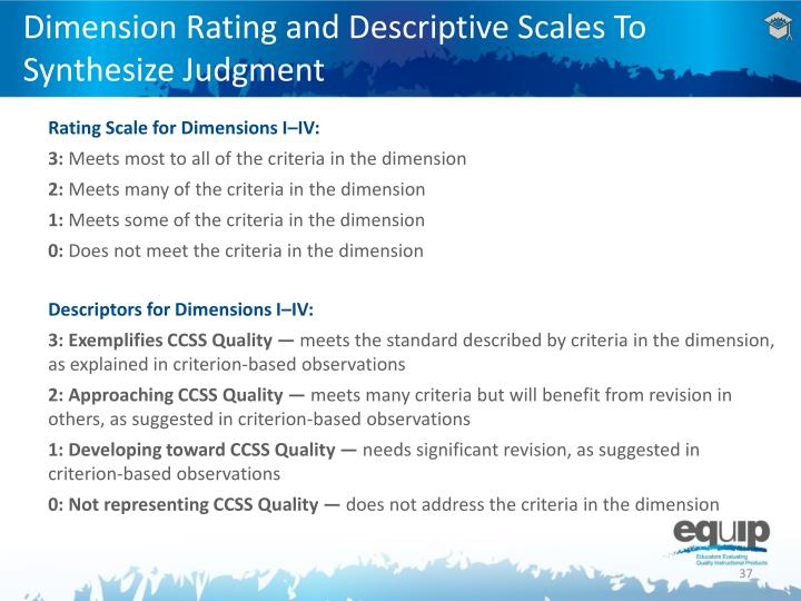 Dimension Rating and Descriptive Scales To Synthesize Judgment