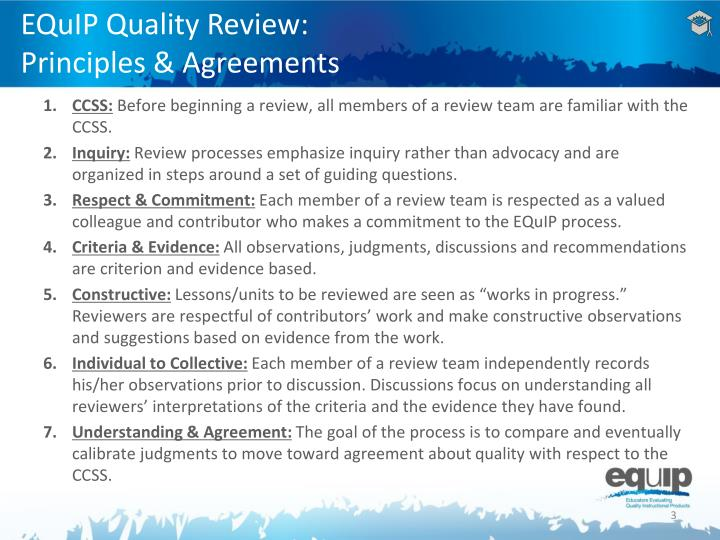 Equip quality review principles agreements
