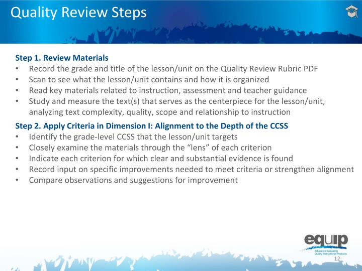 Quality Review Steps