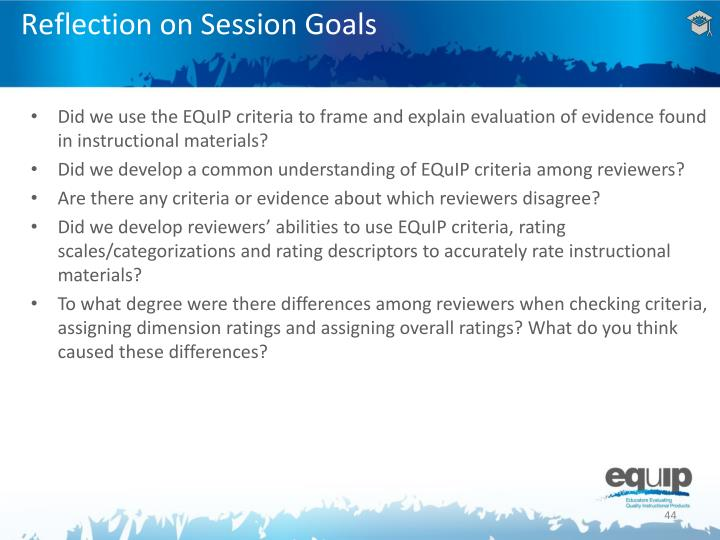 Reflection on Session Goals