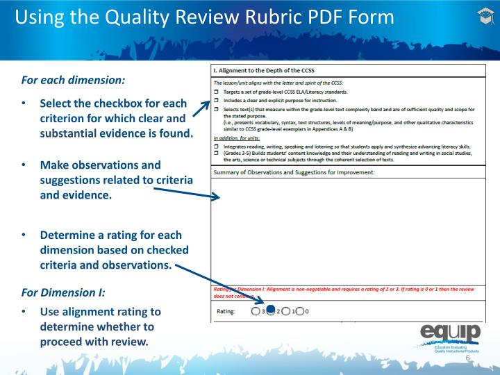 Using the Quality Review Rubric PDF Form