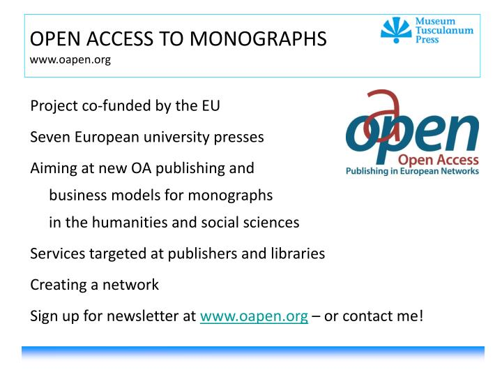 OPEN ACCESS TO MONOGRAPHS