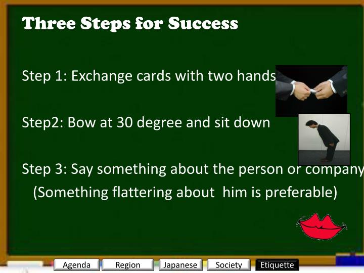 Three Steps for Success