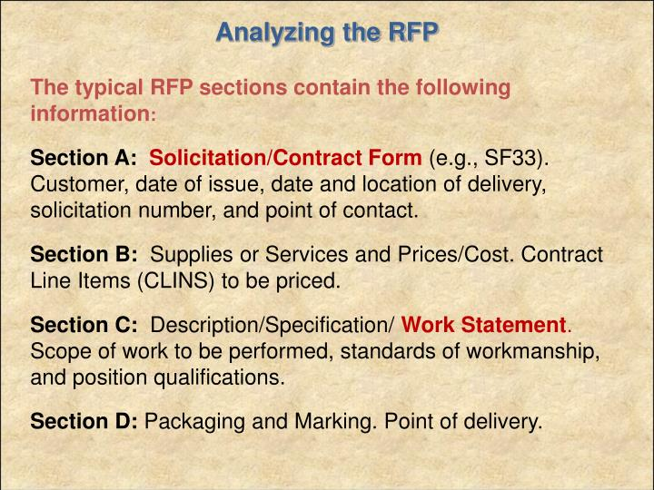 Analyzing the RFP