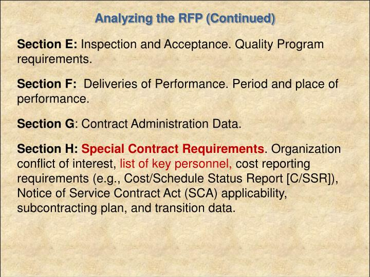 Analyzing the RFP (Continued)