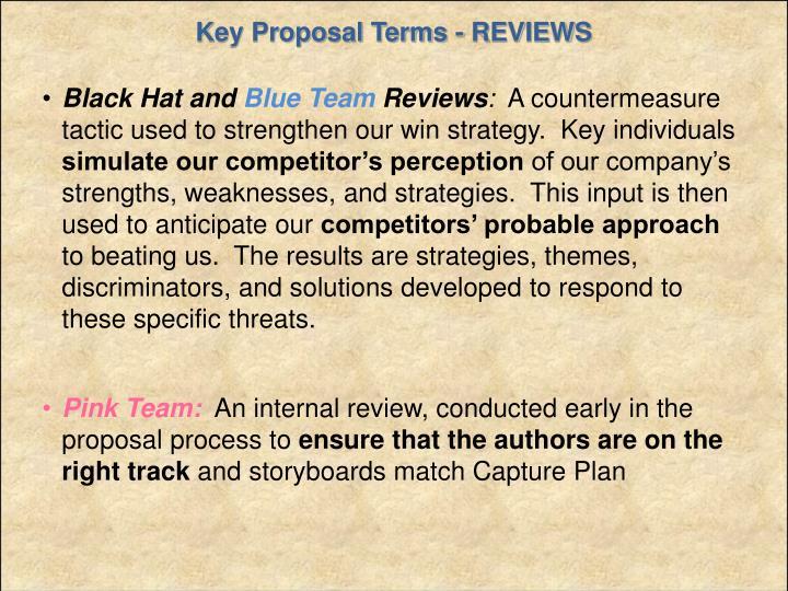 Key Proposal Terms - REVIEWS