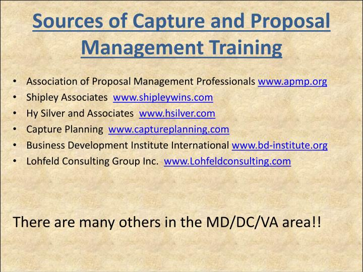 Sources of Capture and Proposal Management Training