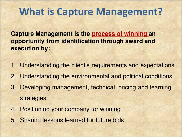 What is Capture Management?