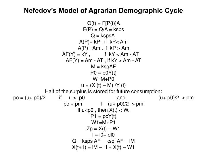 Nefedov's Model of Agrarian Demographic Cycle