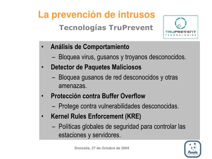 La prevención de intrusos