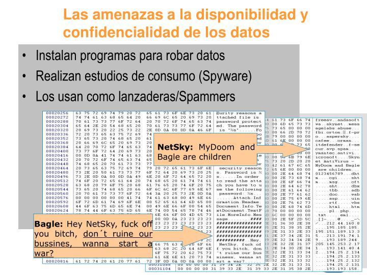 Las amenazas a la disponibilidad y confidencialidad de los datos