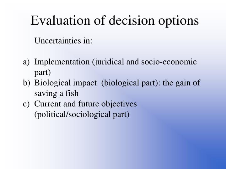 Evaluation of decision options