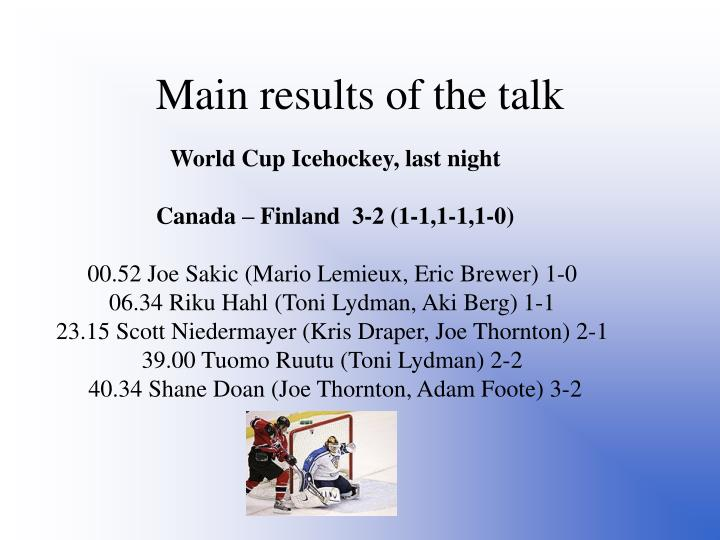 Main results of the talk