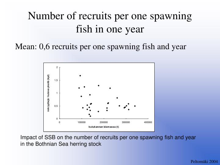 Mean: 0,6 recruits per one spawning fish and year