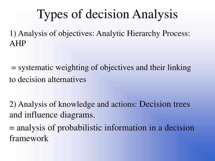 Types of decision Analysis